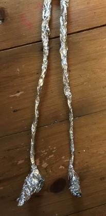 foil covered legs
