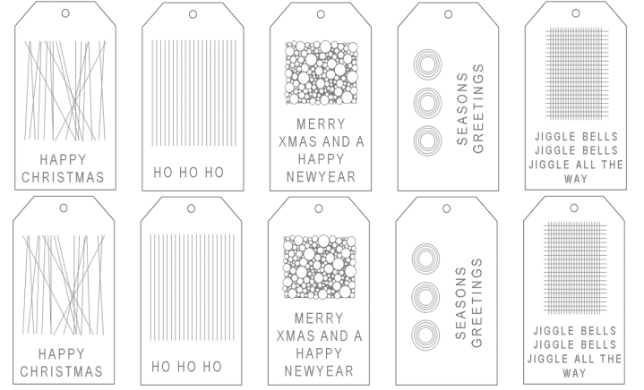Christmas Gift Tags grey and white