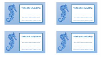 Seahorse bookplate