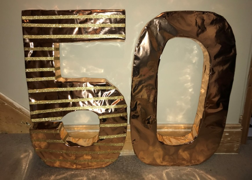 Giant home made decorative Gold 5 and 0