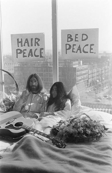 John Lennon and Yoko Ono Amsterdam Bed-In