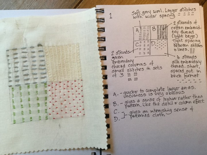Notes and finished version 1 of four box running stitch