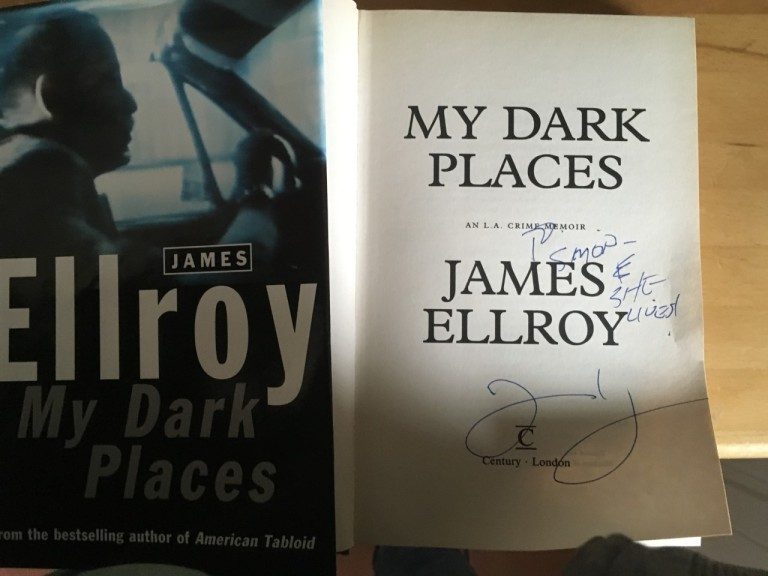 Autographed copy of My Dark Places