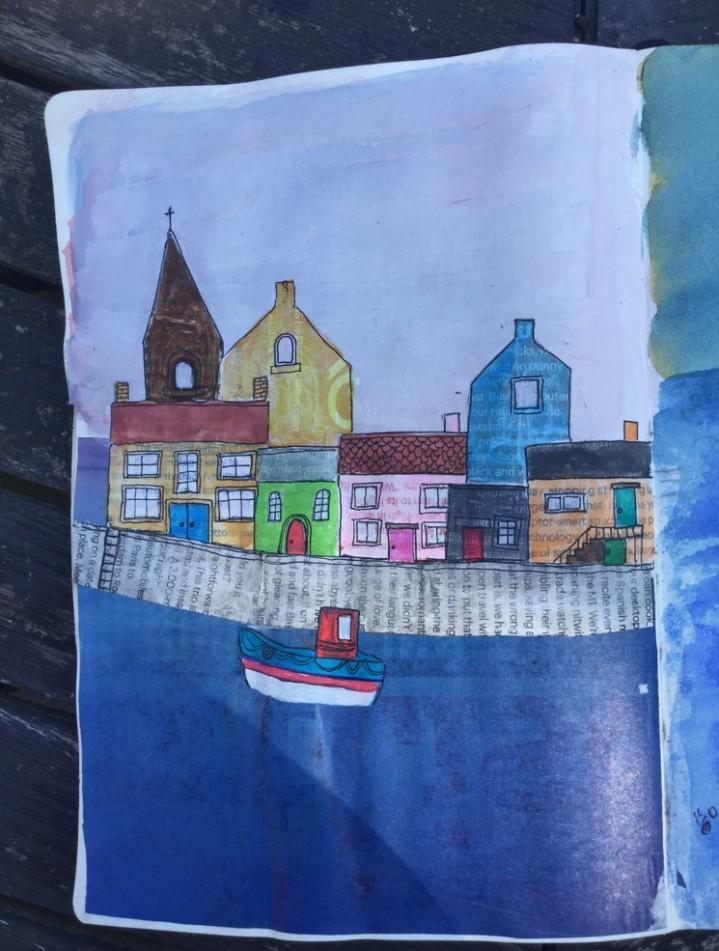 coastal town collage