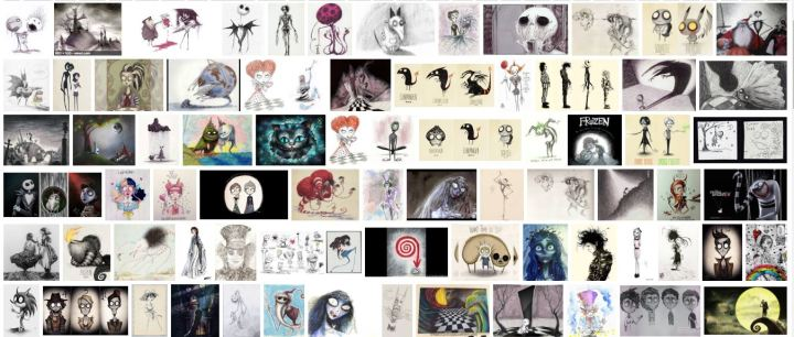 a google search showing a selection of the art work from, and inspired by Tim Burton