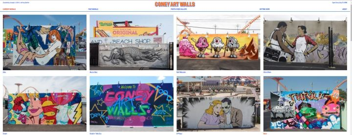 A screenshot of images from Coney Arts Wall