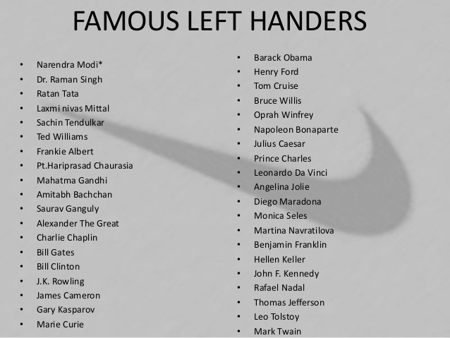 a powerpoint slide with a list of famous left handers taken from a slide share presentation