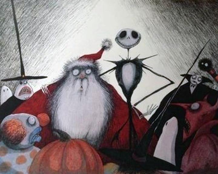Artwork by Tim Burton of Santa Claus and Jack Skellington