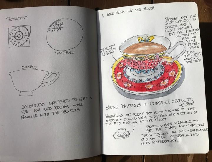 tea cup sketch prep