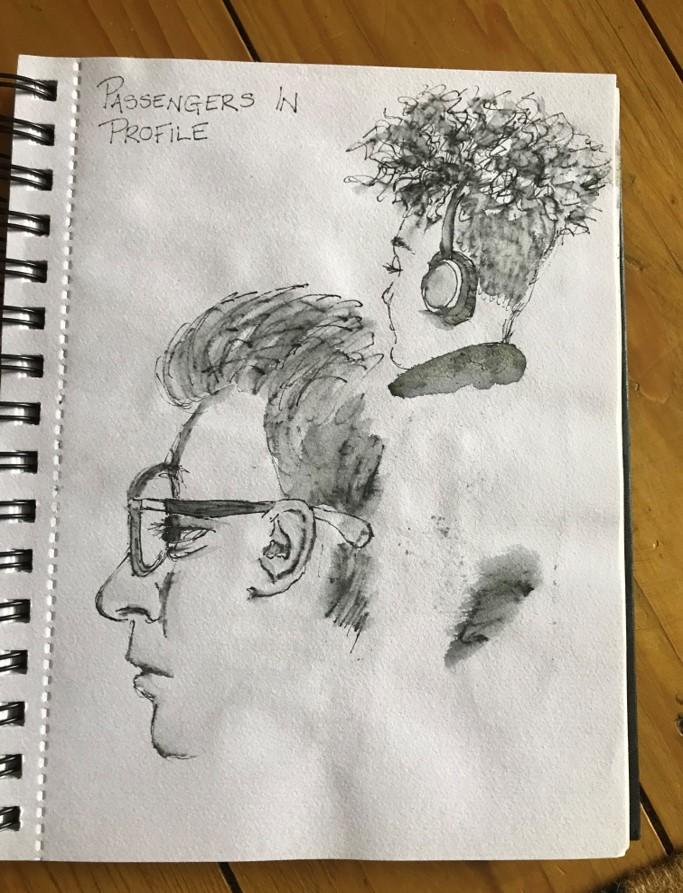 sketching fellow passengers