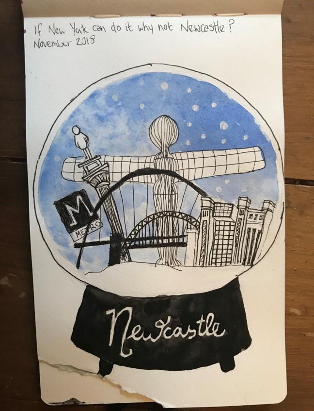 Newcastle snow globe