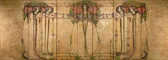 """The May Queen from the Ladies' Luncheon Room Ingram Street Tea Rooms, 1900 par Margaret Macdonald Mackintosh. Ce tableau avec celui de Mackintosh intitulé """"The Wassail"""" a été exposé à Vienne en novembre 1900 dans le pavillon de la Secession. Il a très vraisemblablement influencé Gustav Klimt lorsqu'il a peint sa frise """"Beethoven""""."""