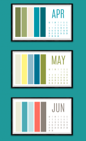 Colour paletter calendar Apr to June