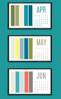 Colour paletter calendar Apr to June