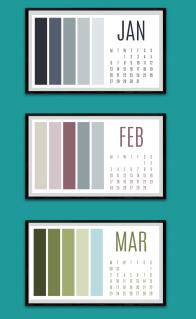 Colour paletter calendar Jan to Mar