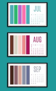 Colour paletter calendar Jul to Sep