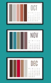 Colour paletter calendar Oct to Dec