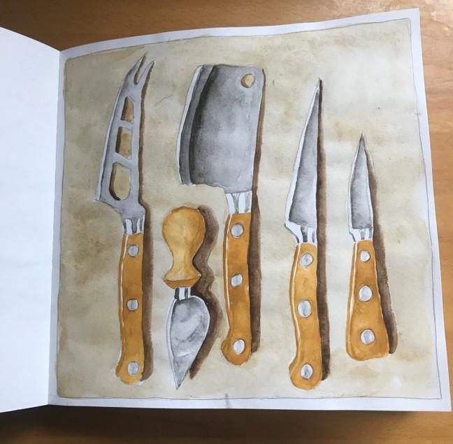 knives sketchbook page