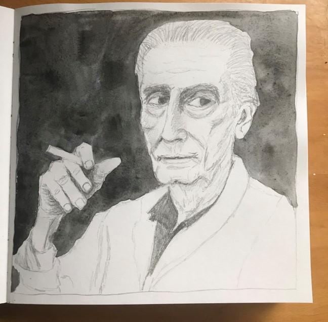 old man sketch sketchbook page